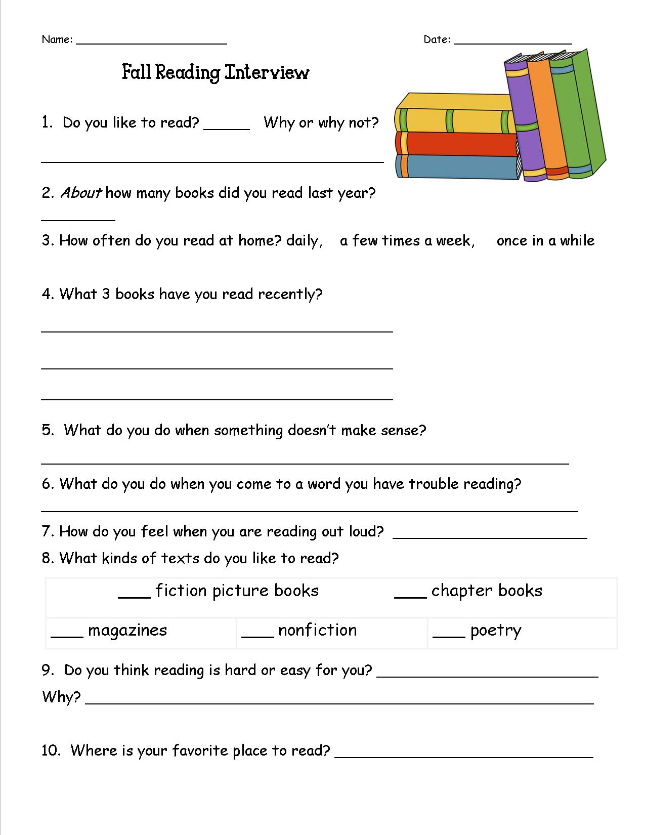 Reading habits interview - One of your students left their book on the table ...