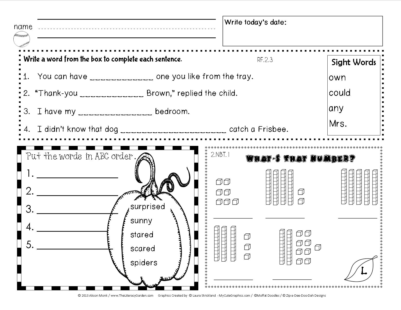 Worksheets Daily Morning Work 1st Grade common core morning work more work