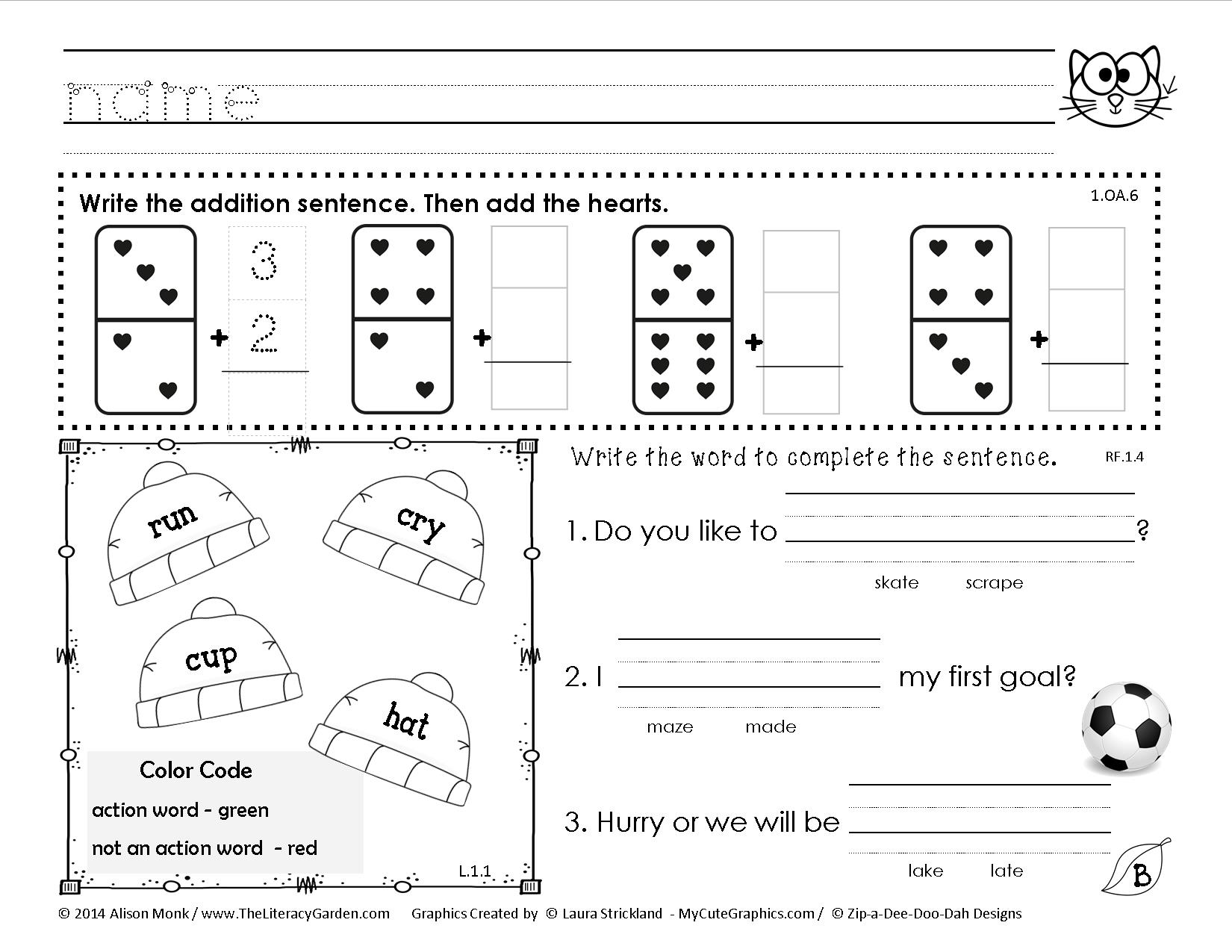 Worksheet Work For 1st Graders common core morning work as you can see there are a vast array of math reading and language skills covered best all kids love it i have gotten wonderful feedback from