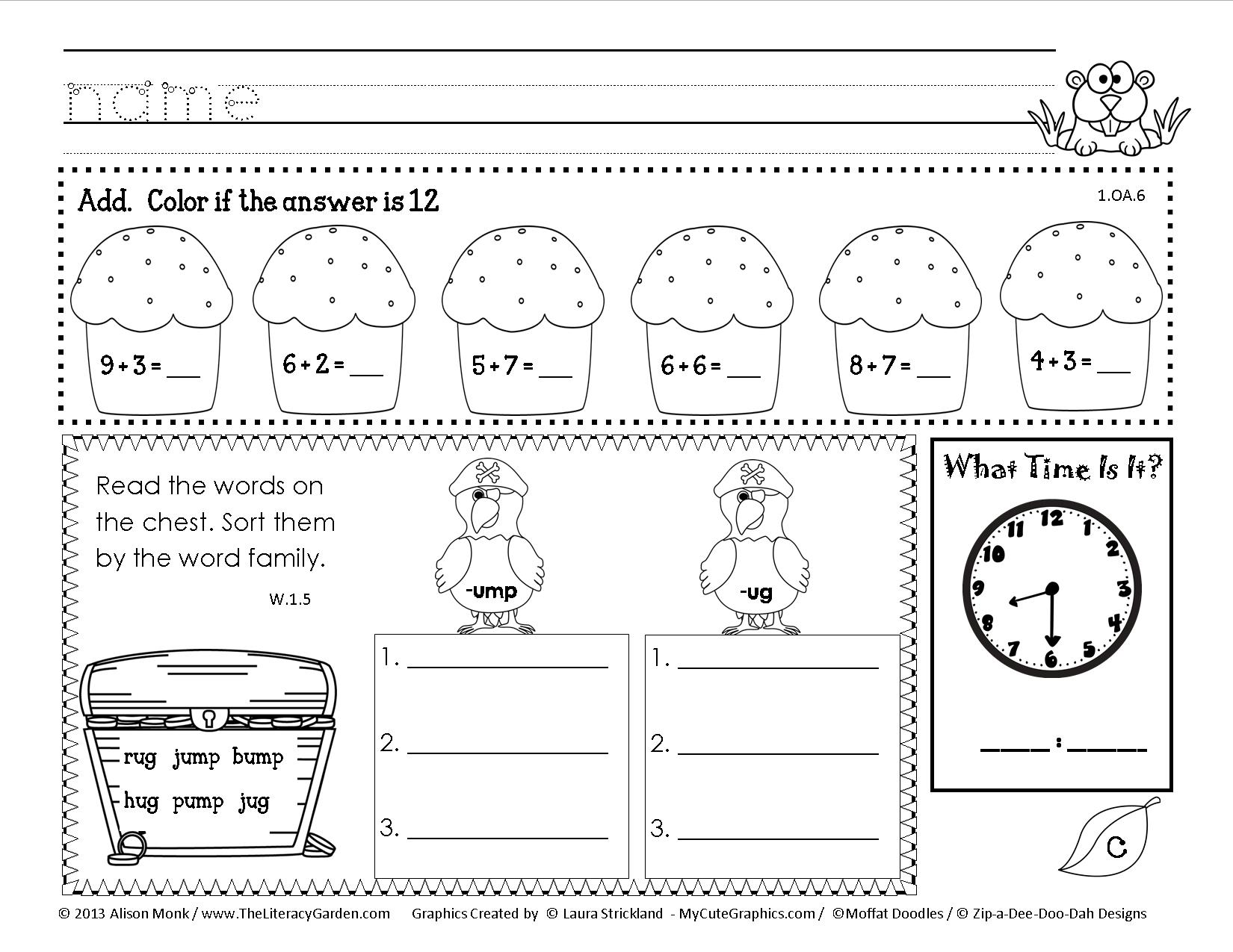 Worksheets Daily Morning Work 1st Grade core morning work common work