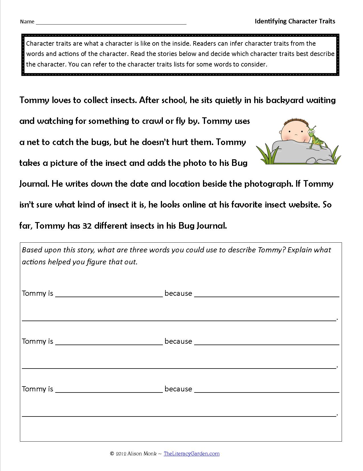 Free Worksheet Identifying Character Traits Worksheet character trait lessons throughout the year we continue to identify traits expand their vocabulary and add our bulletin board if you would like a copy of my
